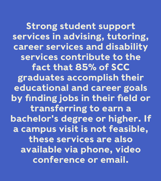 Strong student support services in advising, tutoring, career services and disability services contribute to the fact that 85% of SCC graduates accomplish their educational and career goals by finding jobs in their field or transferring to earn a bachelor's degree or higher.