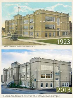 SCC Downtown Campus Evans Building shown 1923 and 2013