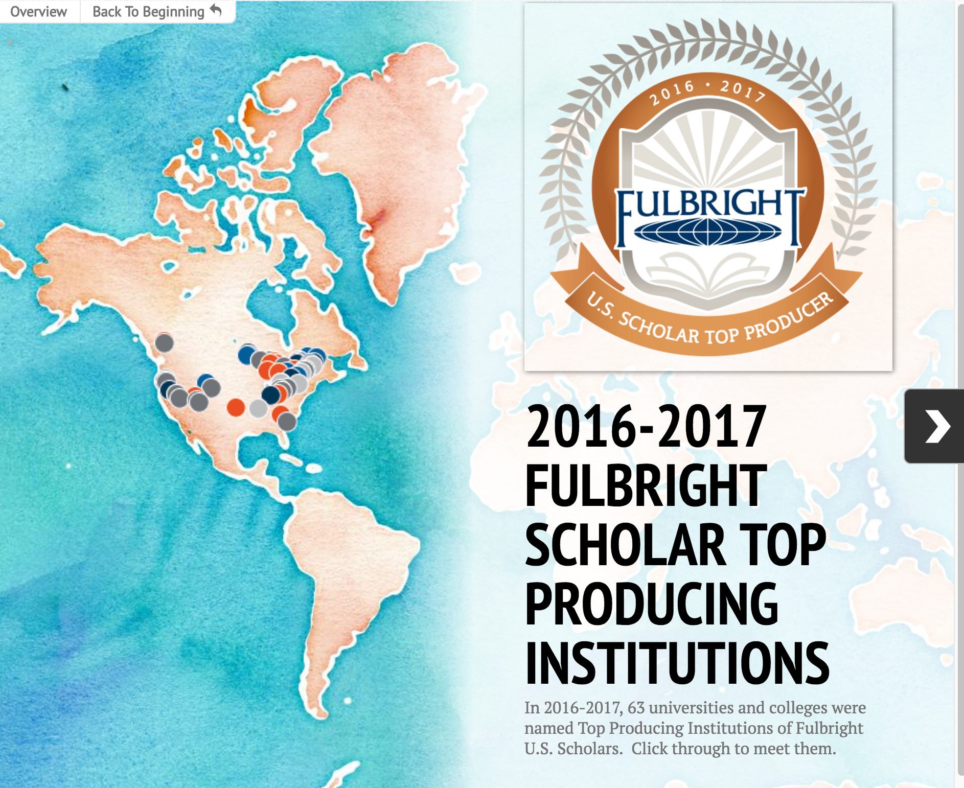 2016-2017 Fulbright Scholar Top Producing Institutions