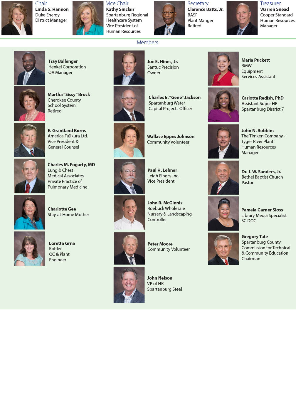 SCC Foundation board of directors graphic