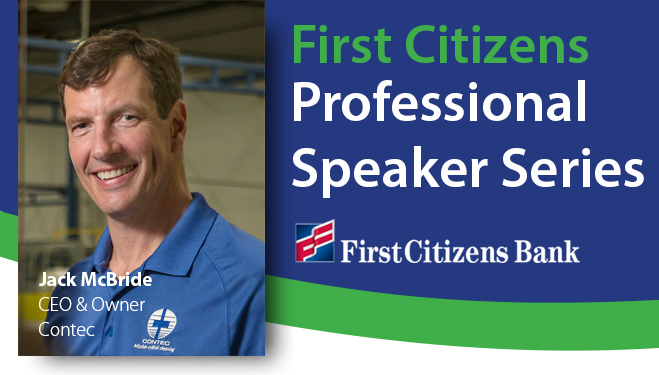 First Citizens Speaker Series header Jack McBride